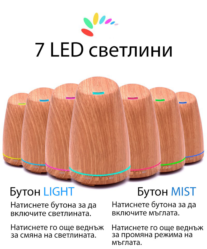 Ароматерапевтичен дифузер 120мл - светло дървено покритие