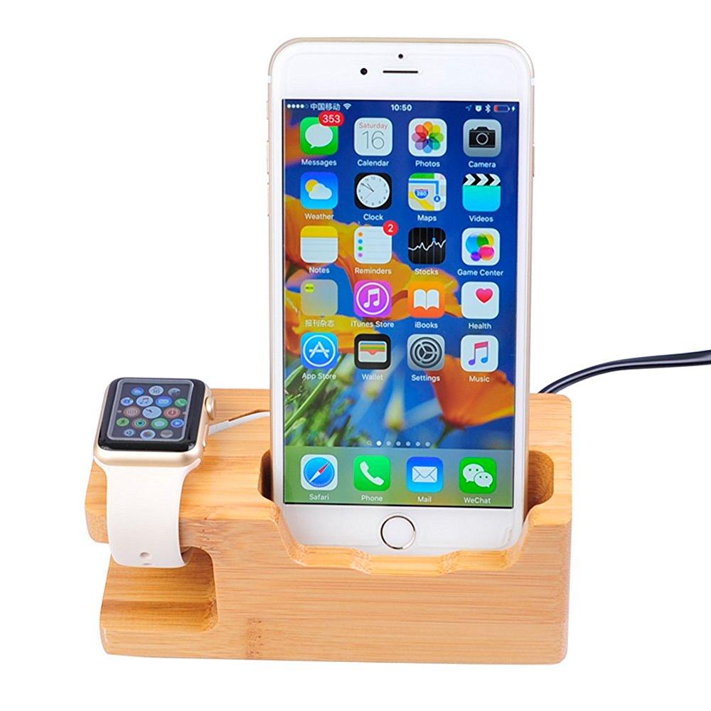 Докинг станция от бамбук за iPhone и Apple Watch