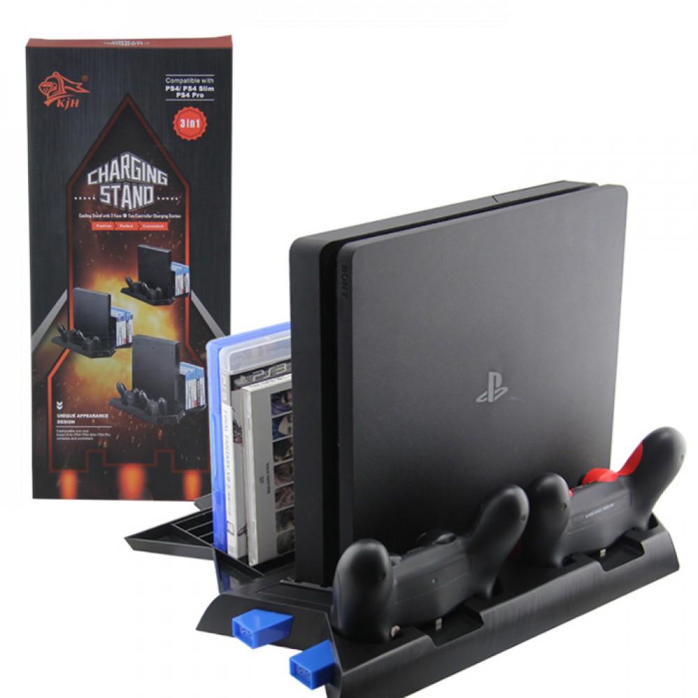 Вертикална стойка за PS4/PS4 Slim/PS4 Pro 3 в 1