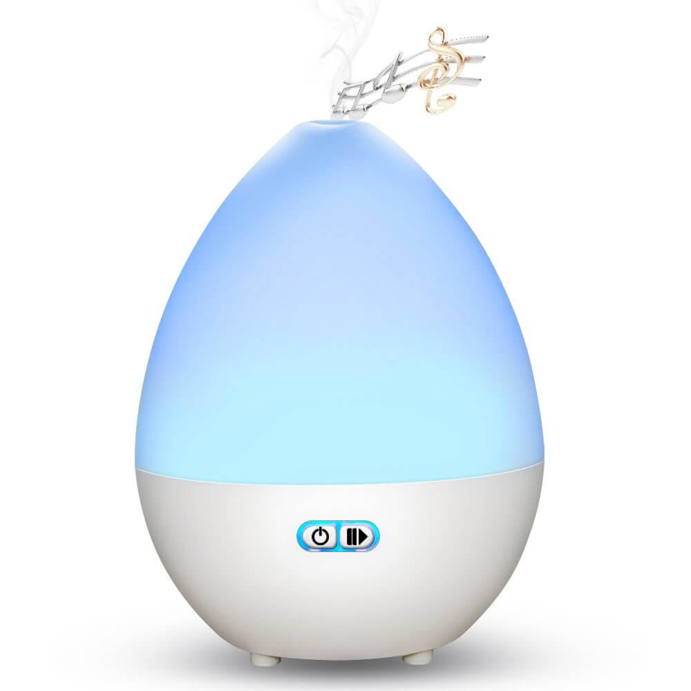 Ароматерапевтичен дифузер с вградена Bluetooth колонка - бял 450мл