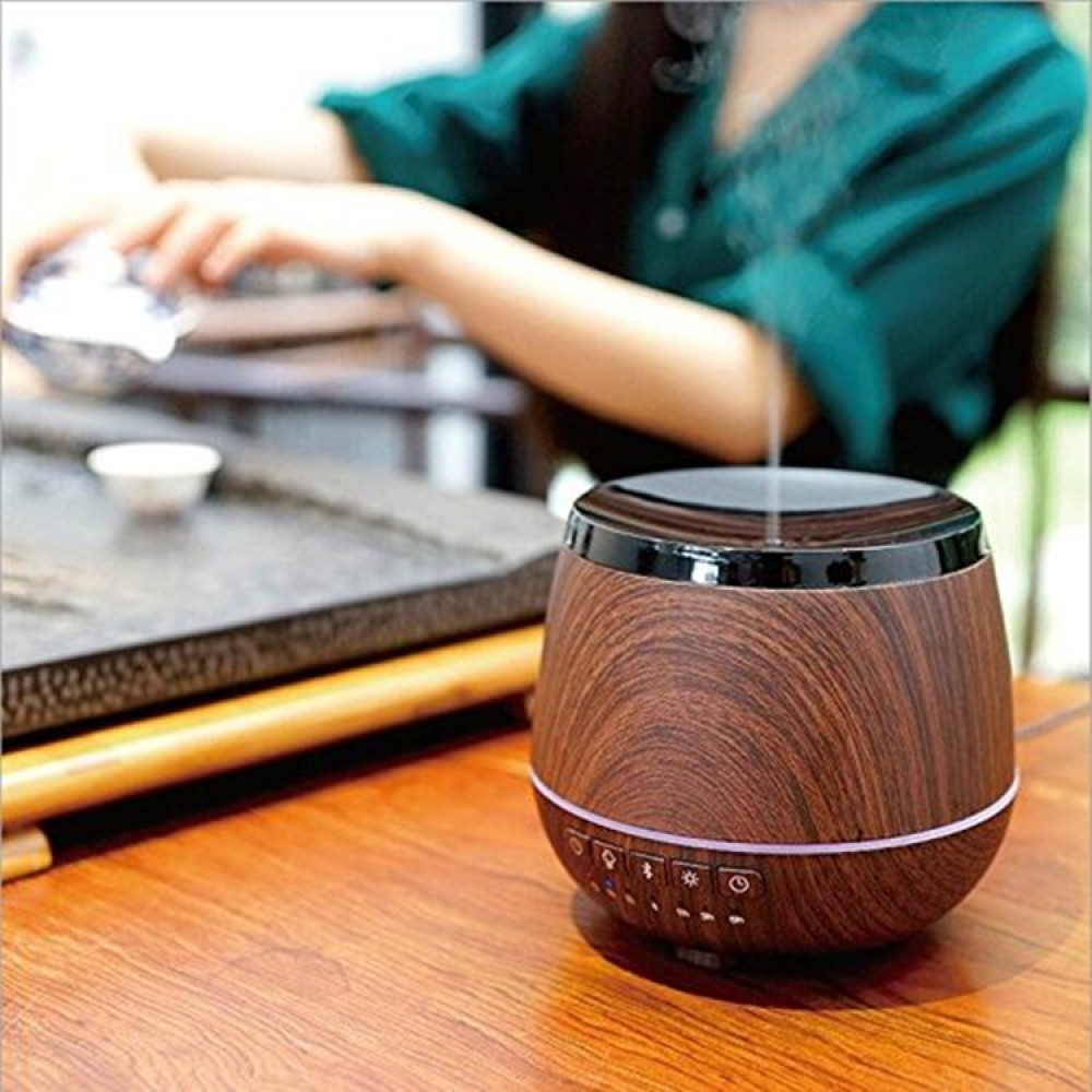 Ароматерапевтичен дифузер с вградена Bluetooth колонка -  тъмно дървено покритие