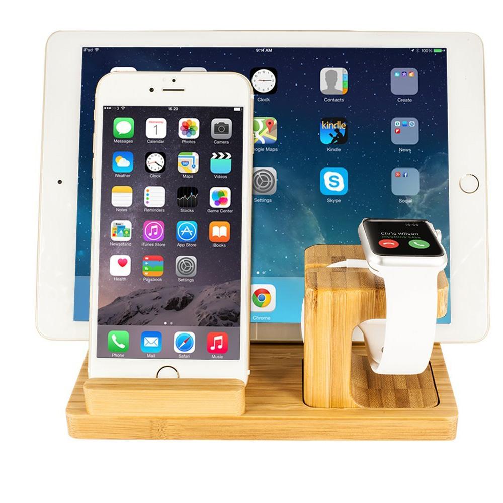 Стойка от бамбук 3 в 1 за iPhone, iPad и Apple Watch