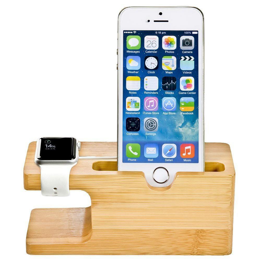 Стойка от бамбук за iPhone и Apple Watch