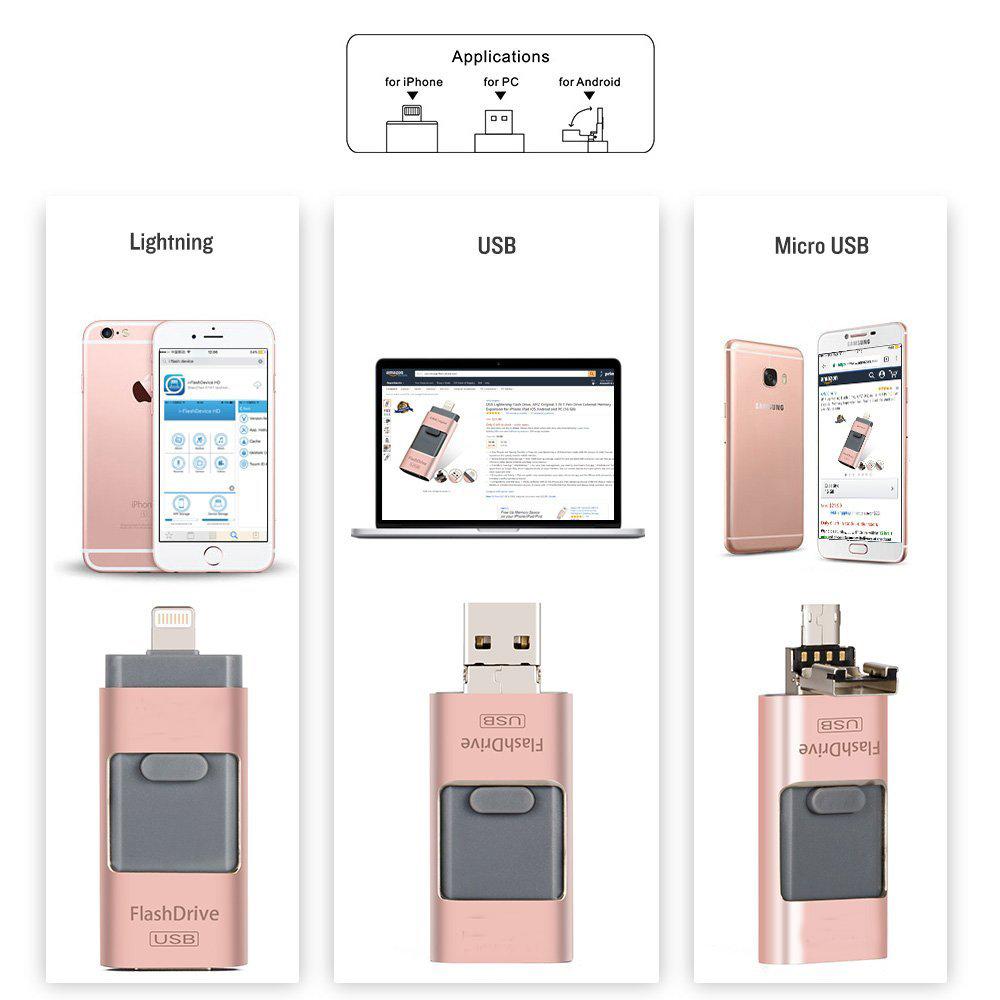 USB Флашка 3 в 1- 16GB розова