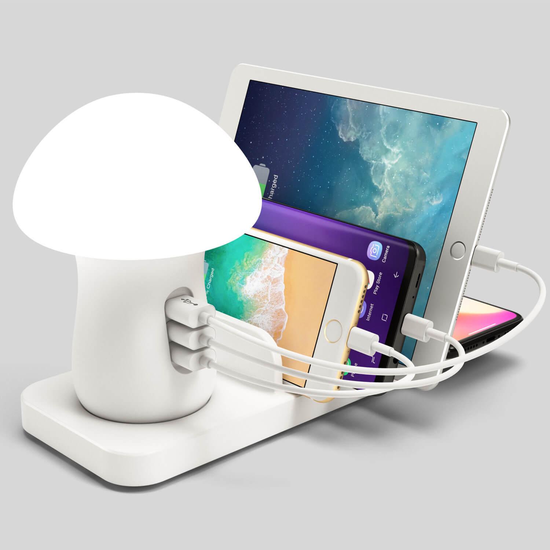 Мултифункционална докинг станция с нощна LED лампа - бяла